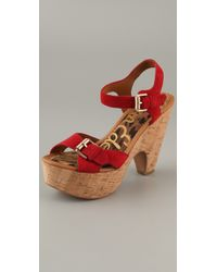 Sam Edelman | Red Warner Suede Cork Platform Sandals | Lyst