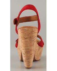 Sam Edelman - Red Warner Suede Cork Platform Sandals - Lyst