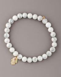 Sydney Evan | White Howlite & Diamond Hamsa Bracelet | Lyst