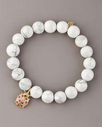 Sydney Evan | White Howlite & Diamond Ladybug Bracelet | Lyst
