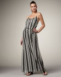 T-bags | Gray Zigzag Maxi Dress | Lyst