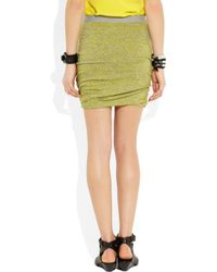 T By Alexander Wang - Green Marled Ruched Skirt - Lyst