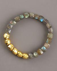 Tai | Blue Hammered Gold & Labradorite Bracelet | Lyst