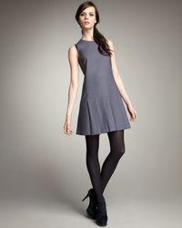 Theory | Gray Sleeveless Pleated Dress | Lyst