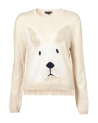 TOPSHOP | Natural Knitted Bunny Motif Jumper | Lyst