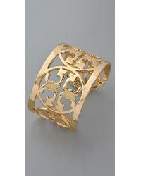 Tory Burch - Metallic Curved Logo Bracelet - Lyst