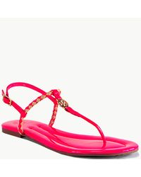 Tory Burch - Aine Thong - Neon Pink Leather Woven Flat Thong Sandal - Lyst