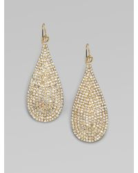 ABS By Allen Schwartz | Metallic Pavé Teardrop Earrings | Lyst