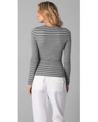 Alexander Wang - Gray Engineered Stripe Long Sleeve Top - Lyst