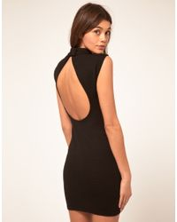 ASOS Collection - Black Asos Mini Dress in Rib with Cut Out Back - Lyst