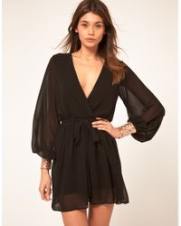 ASOS Collection - Black Wrap Dress with Sequin Cuff - Lyst