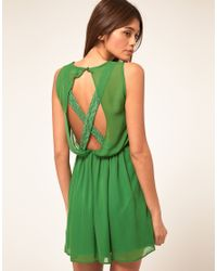 ASOS Collection | Green Skater Dress with Lace Cross Back | Lyst