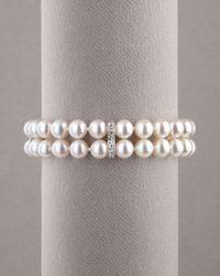 Assael - White Pearl & Diamond Bracelet - Lyst