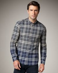 Burberry Brit | Blue Dip-dye Check Woven Shirt for Men | Lyst