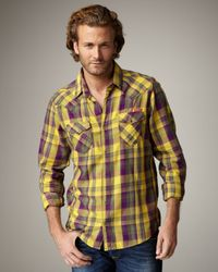 DIESEL | Yellow Check Flannel Western Shirt for Men | Lyst