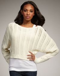 Elizabeth and James | White Cropped Knit Sweater | Lyst