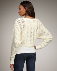 Elizabeth and James - White Cropped Knit Sweater - Lyst