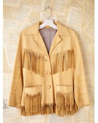 Free People | Natural Vintage Fringe Leather Jacket | Lyst