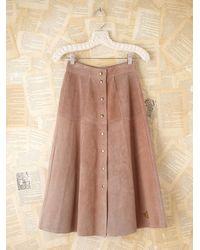 Free People - Brown Vintage Suede Buttondown Skirt - Lyst