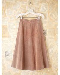 Free People | Brown Vintage Suede Buttondown Skirt | Lyst