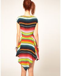 House of Holland - Multicolor Stripe Poncho Dress In Silk - Lyst