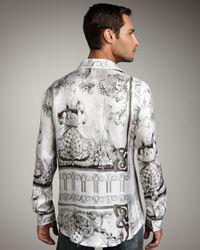 Just Cavalli | White Floral-print Silk Shirt for Men | Lyst