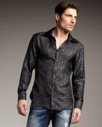Just Cavalli - Black Crocodile-print Silk Shirt for Men - Lyst