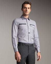 Lanvin | Gray Grosgrain-trim Woven Shirt for Men | Lyst