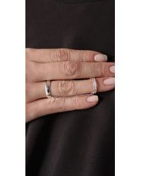 Made Her Think - Metallic Double Band Half Pave Chain Ring - Lyst