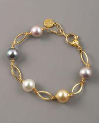 Majorica | Metallic Multicolor Pearl Link Bracelet | Lyst