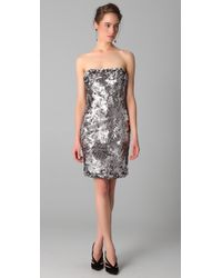 Marchesa | Metallic Sequined Strapless Dress | Lyst