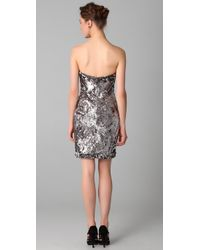 Marchesa   Silver Sequined Strapless Dress   Lyst