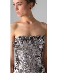 Marchesa - Metallic Sequined Strapless Dress - Lyst