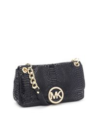 Michael Kors - Black Small Fulton Patent Python-embossed Shoulder Bag - Lyst