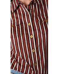 Tory Burch | Red Brigitte Striped Blouse | Lyst