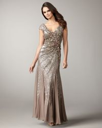 Alberto Makali | Brown Floral-embellished Sequined Gown | Lyst
