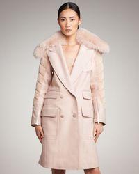 Alexander Wang - Pink Hybrid Car Coat with Detachable Fox Fur Collar - Lyst