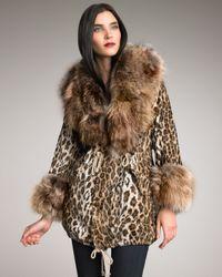 Elizabeth and James - Natural Leopard Fur-trim Parka - Lyst