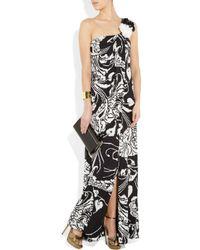 Gucci - Black Printed Silk-georgette One-shoulder Gown - Lyst