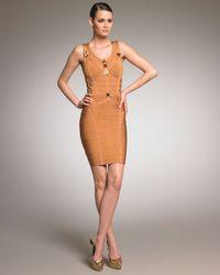 Hervé Léger | Metallic Detailed Bandage Dress | Lyst