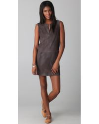 Jenni Kayne | Gray V Neck Suede Dress | Lyst