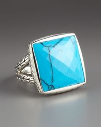 John Hardy - Blue Batu Square Turquoise Ring - Lyst