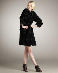Kelly Wearstler | Black Tie-waist Fur Coat | Lyst