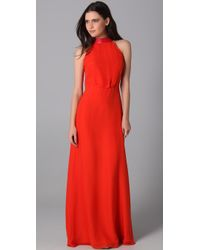 Raoul | Orange Leather-trim Cut-in Gown | Lyst