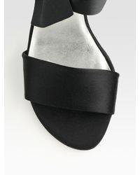Stuart Weitzman - Black Bow Satin Slingback Sandals - Lyst