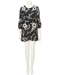 TOPSHOP - Black Snowdrop and Lace Playsuit - Lyst
