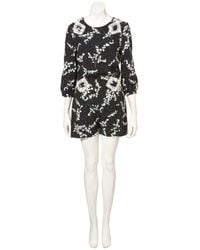 TOPSHOP | Black Snowdrop and Lace Playsuit | Lyst