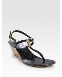 Tory Burch | Black Pauline Patent Leather T-Strap Wedge Sandals | Lyst