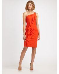 David Meister | Orange One-shoulder Ruffled Cocktail Dress | Lyst