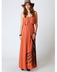 Free People | Orange Flock Of Birds Dress | Lyst